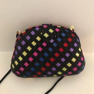 vintage black diamond pattern delill mini purse